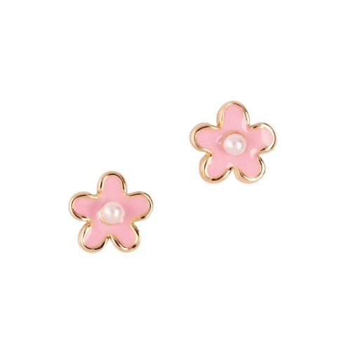 Pink Fancy Flower Cutie Enamel Stud Earrings
