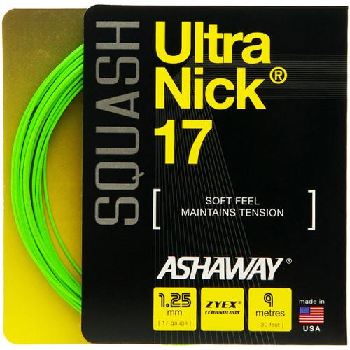 Ashaway UltraNick 17 Squash String 9 Meter Set - Optic Green