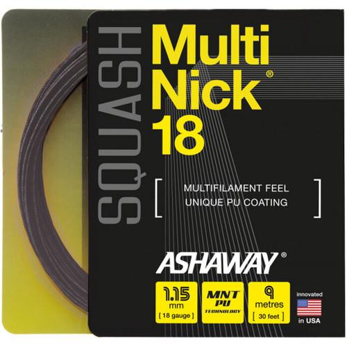 Ashaway MultiNick 18 Squash String 9 Meter Set - Black