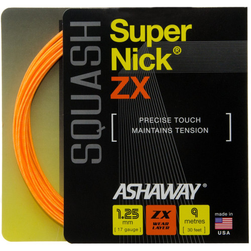 Ashaway SuperNick ZX 17 Squash String 9 Meter Set - Orange