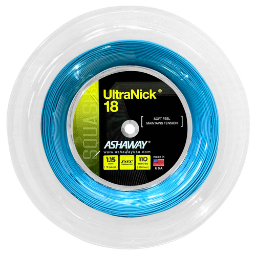 Ashaway UltraNick 18 Squash String 110 Meter Reel - Blue
