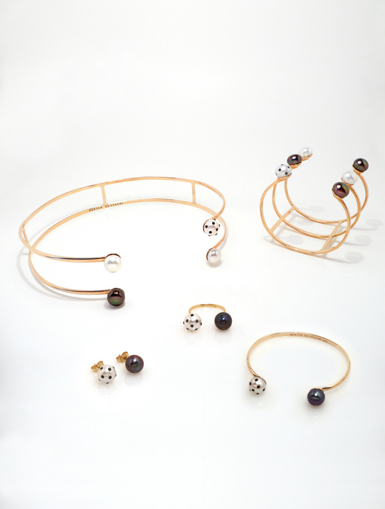 LadyBug Diamond & Black Pearl Earrings by Nektar De Stagni