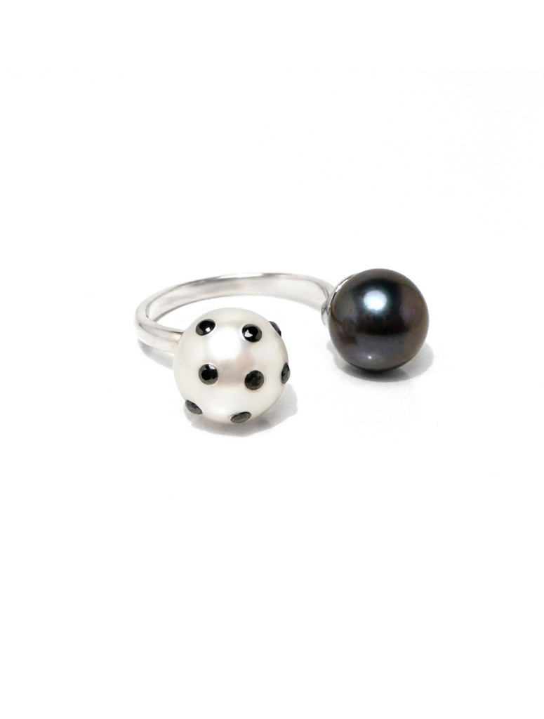 View 2 of Cultured Freshwater White and Black Pearl Ring with LadyBug Diamond Pave and Sterling Silver Band by Jewelry Designer Nektar De Stagni (8-9mm. Size 5-6-7)