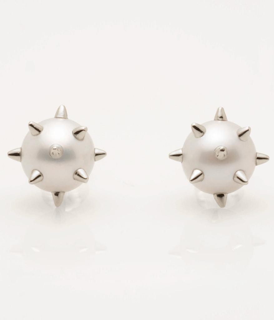 Cultured Freshwater Pearl Earrings with Sterling Silver Spikes & Post by Jewelry Designer Nektar De Stagni(8-9mm)