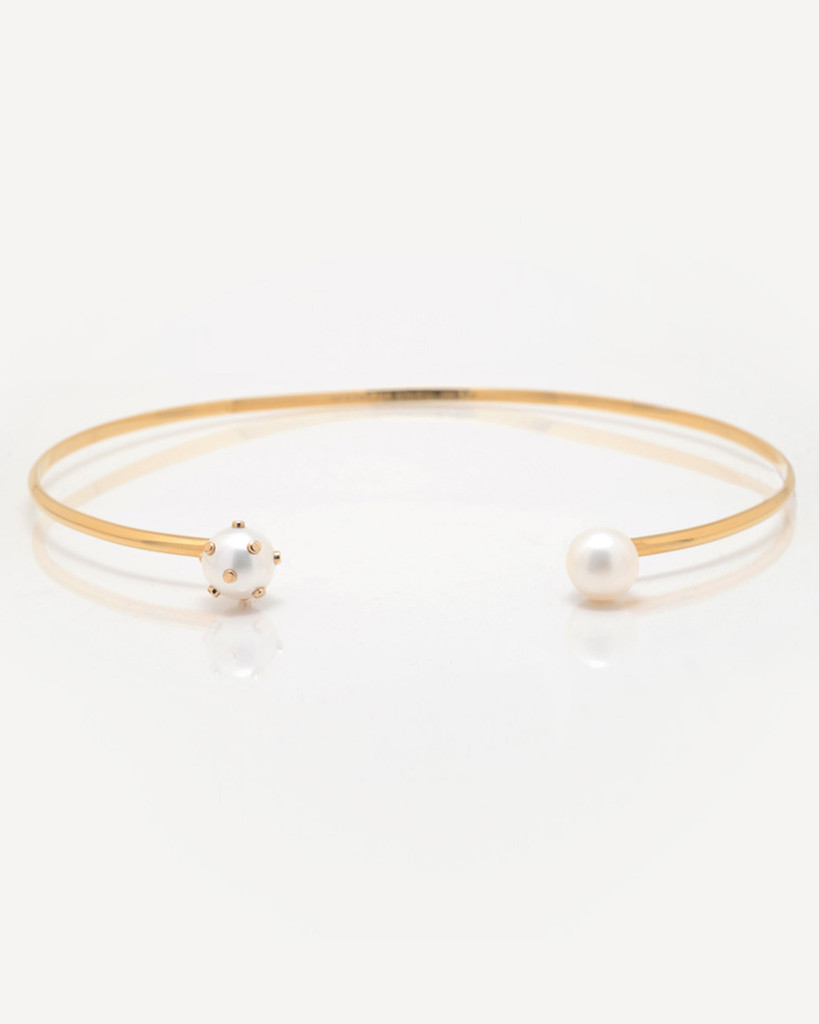 Cultured Freshwater Pearl Choker Necklace with 14k Gold Dots by Jewelry Designer Nektar De Stagni