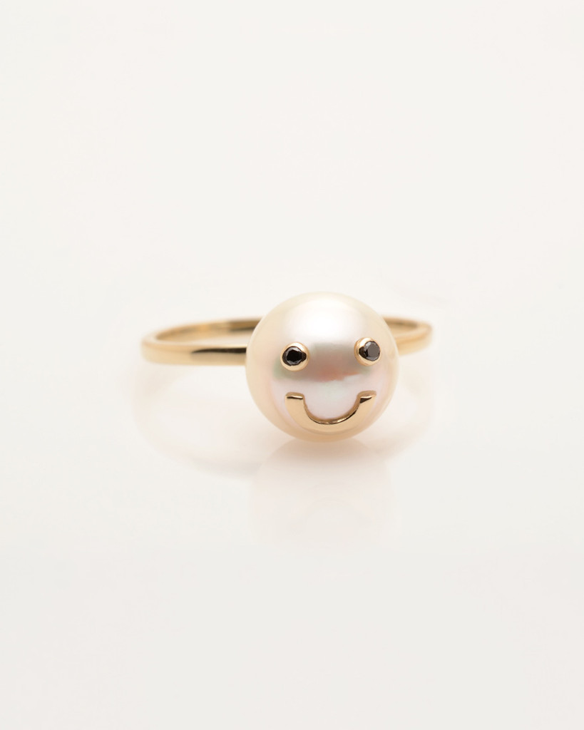 Cultured Freshwater Pearl Ring with Smiley Emoji in 14k Gold & Black Diamond by Nektar De Stagni (8-9 mm. Size 5-6-7)