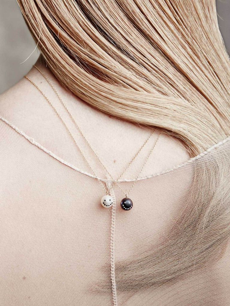 Cultured Freshwater Pearl Charm Pendant Necklace with Smiley Emoji in 14k Gold and Black Diamond by Nektar De Stagni (8-9 mm. Length 16 inches)