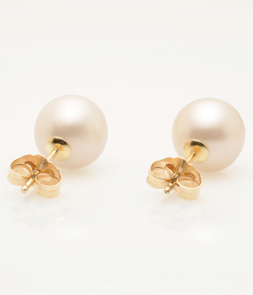 Back View of Cultured Freshwater White Pearl Earrings with 14k Gold Posts by Nektar De Stagni (8-9 mm)