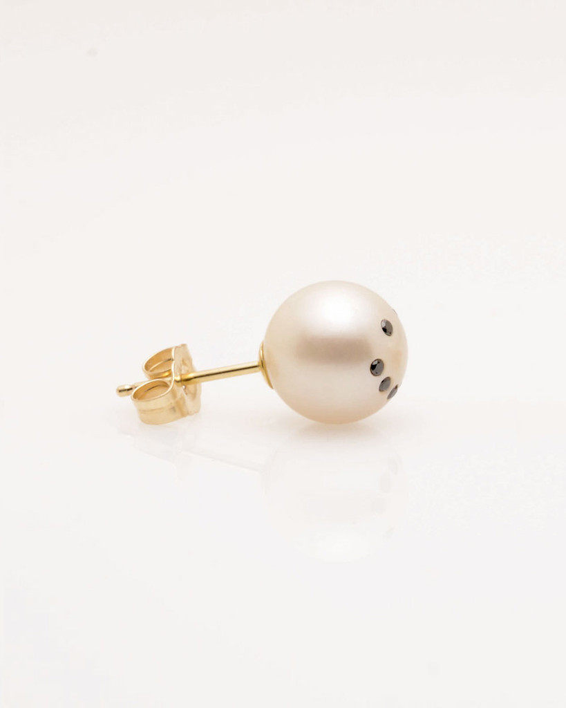 Single Cultured Freshwater Pearl Earring with Smiley Emoji Diamond Pave and 14k Gold Post by Jewelry Designer Nektar De Stagni (8-9 mm)