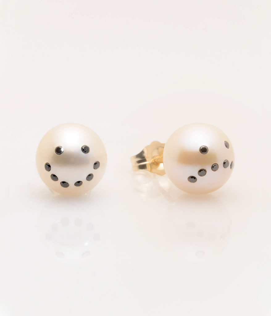Cultured Freshwater Pearl Earrings with Drama Emoji Diamond Pave and 14k Gold Posts by Jewelry Designer Nektar De Stagni (8-9 mm). Mix and  Match with Smiley Pearl Earring.