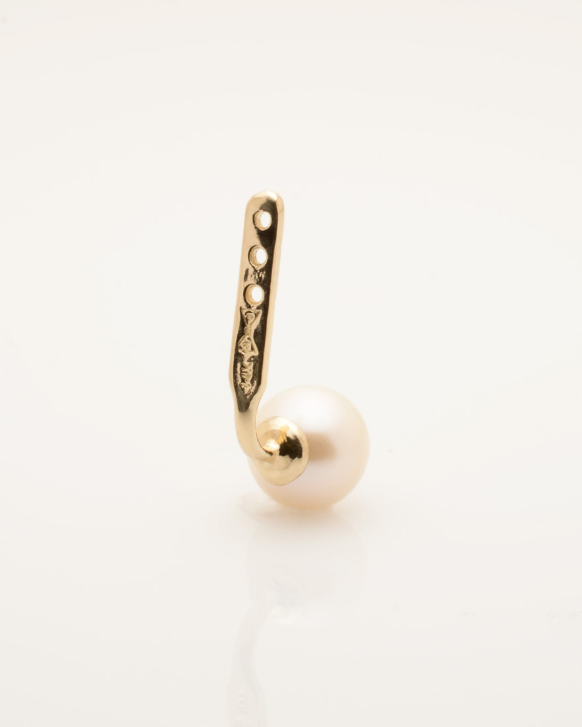 Back view Cultured Freshwater Pearl Single Earring Jacket with Spike in 14k Gold by Jewelry Designer Nektar De Stagni (6-mm)
