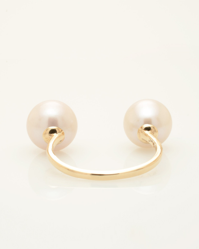 Back view of Cultured Freshwater Double Pearl Ring with Smiley Drama Emoji by Jewelry Designer Nektar De Stagni
