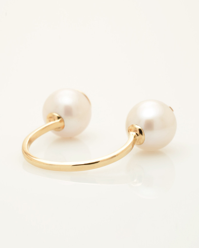 Side View of Cultured Freshwater Double Pearl Ring with Smiley Drama Emoji by Jewelry Designer Nektar De Stagni