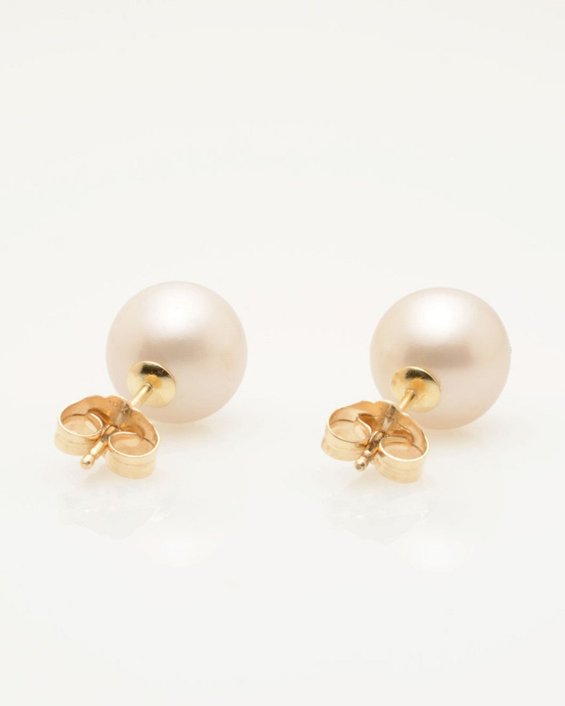 Back View of Cultured Freshwater Pearl Earrings with 14k Gold Hearts & Post by Jewelry Designer Nektar De Stagni (8-9mm)