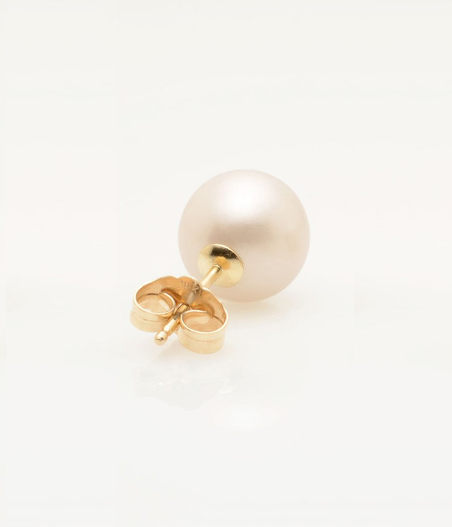 Back View of Single Cultured Freshwater Pearl Earring with letter A in 14k Gold by jewelry designer Nektar De Stagni (8-9 mm)