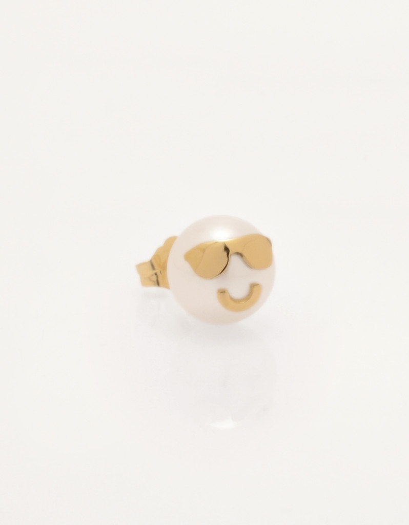 Single Cultured Freshwater Pearl Earring with Smiling Face & Sunglasses Emoji in 14k Gold (8-9 mm) by Jewelry Designer Nektar De Stagni