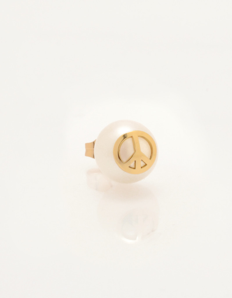 Single Cultured Freshwater Pearl Earring with Peace Sign Emoji in 14k Gold