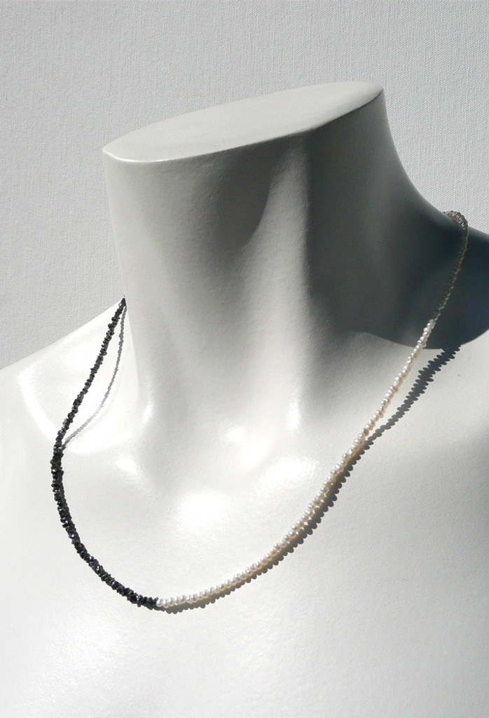 Model fit view of Pearl and Rough Black Diamond Bead Delicate Friendship Necklace by Designer Nektar De Stagni