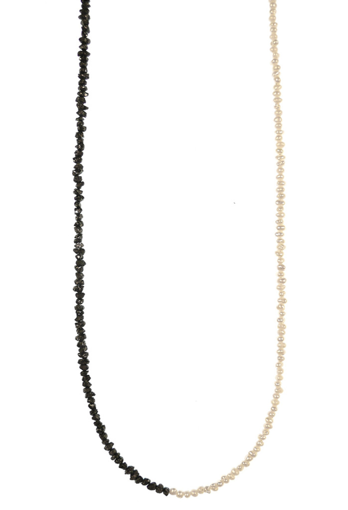 Close up of Pearl and Rough Black Diamond Bead Delicate Friendship Necklace by Designer Nektar De Stagni