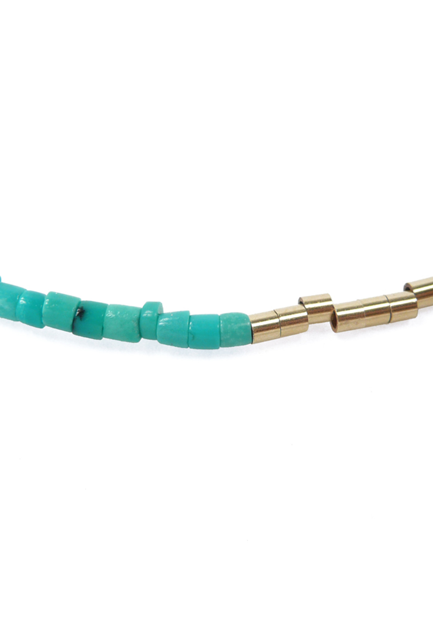 Close Up View of Turquoise & Gold Bead Necklace and Bracelet by Jewelry Designer Nektar De Stagni