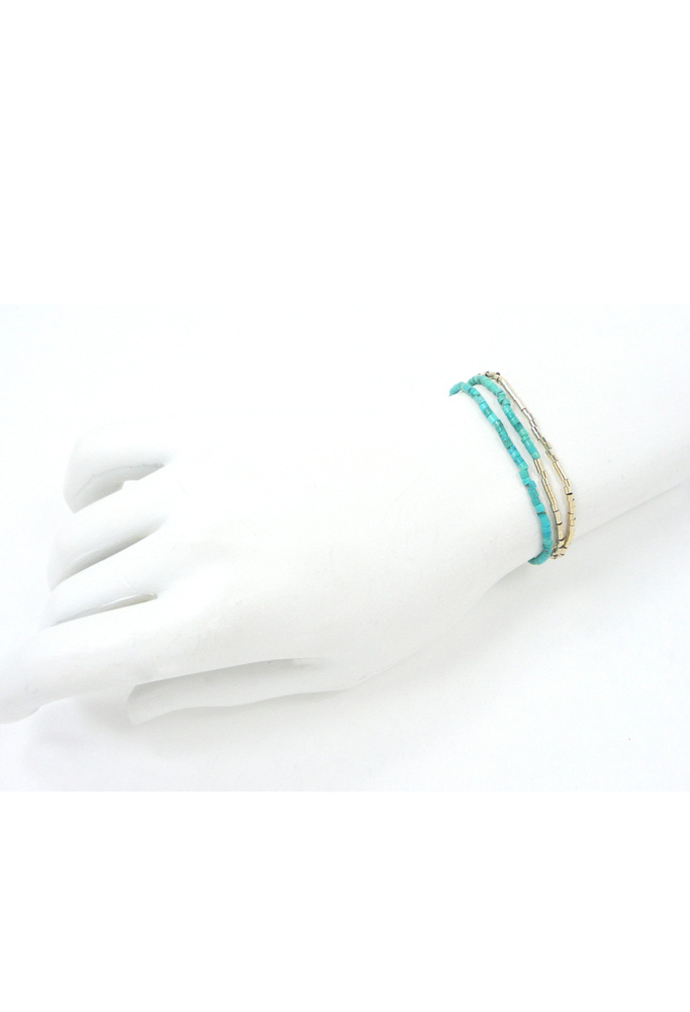 Bracelet View of Turquoise & Gold Bead Necklace and Bracelet by Jewelry Designer Nektar De Stagni