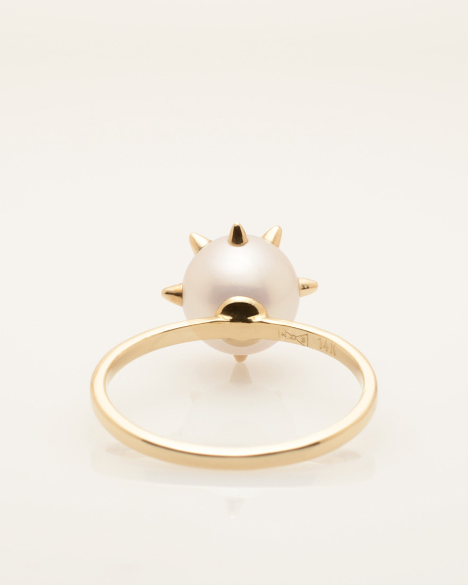 Back View of Cultured Freshwater Pearl Ring with 14k Gold Spikes and Band by Fine Jewelry Designer Nektar De Stagni (8-9mm. Size 5-6-7)