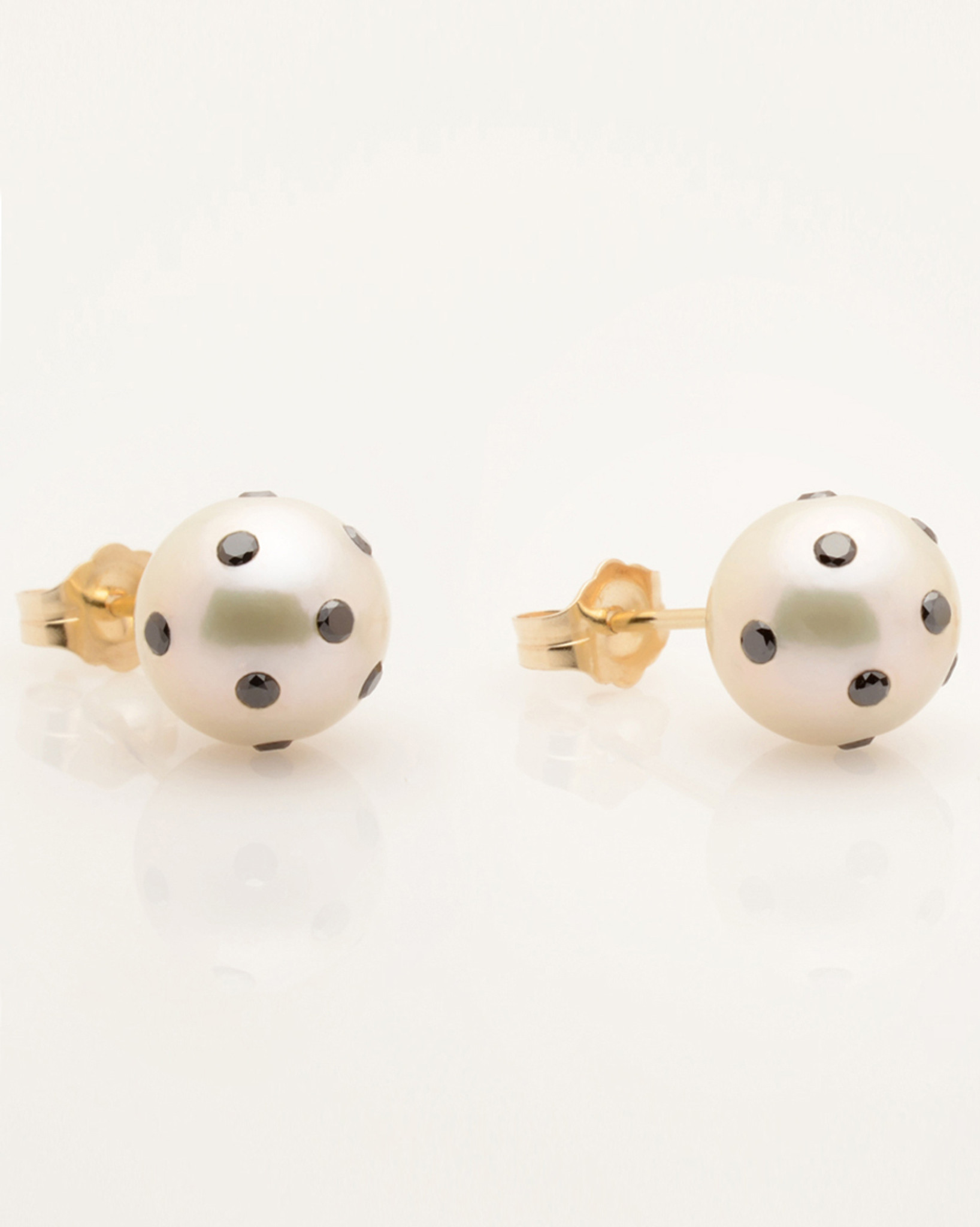Cultured Freshwater Double White and Black Pearl Earrings with LadyBug Diamond Pave and 14k Gold Posts by Jewelry Designer Nektar De Stagni (8-9mm)