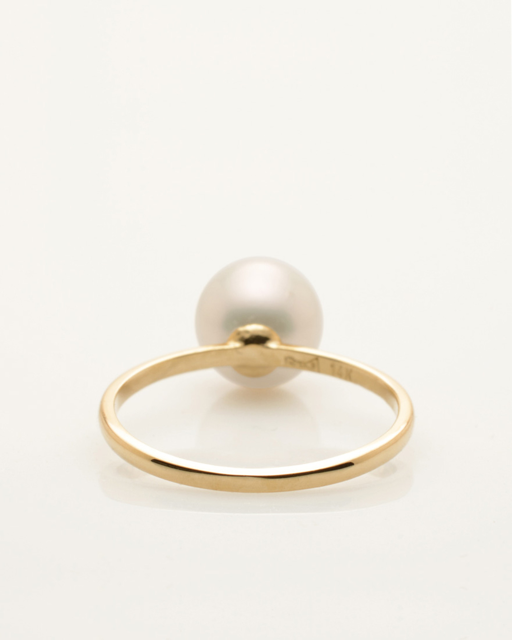 Back View of Cultured Freshwater Pearl Ring with LadyBug Diamond Pave and 14k Gold Band by Jewelry Designer Nektar De Stagni (8-9 mm. Size-5-6-7)