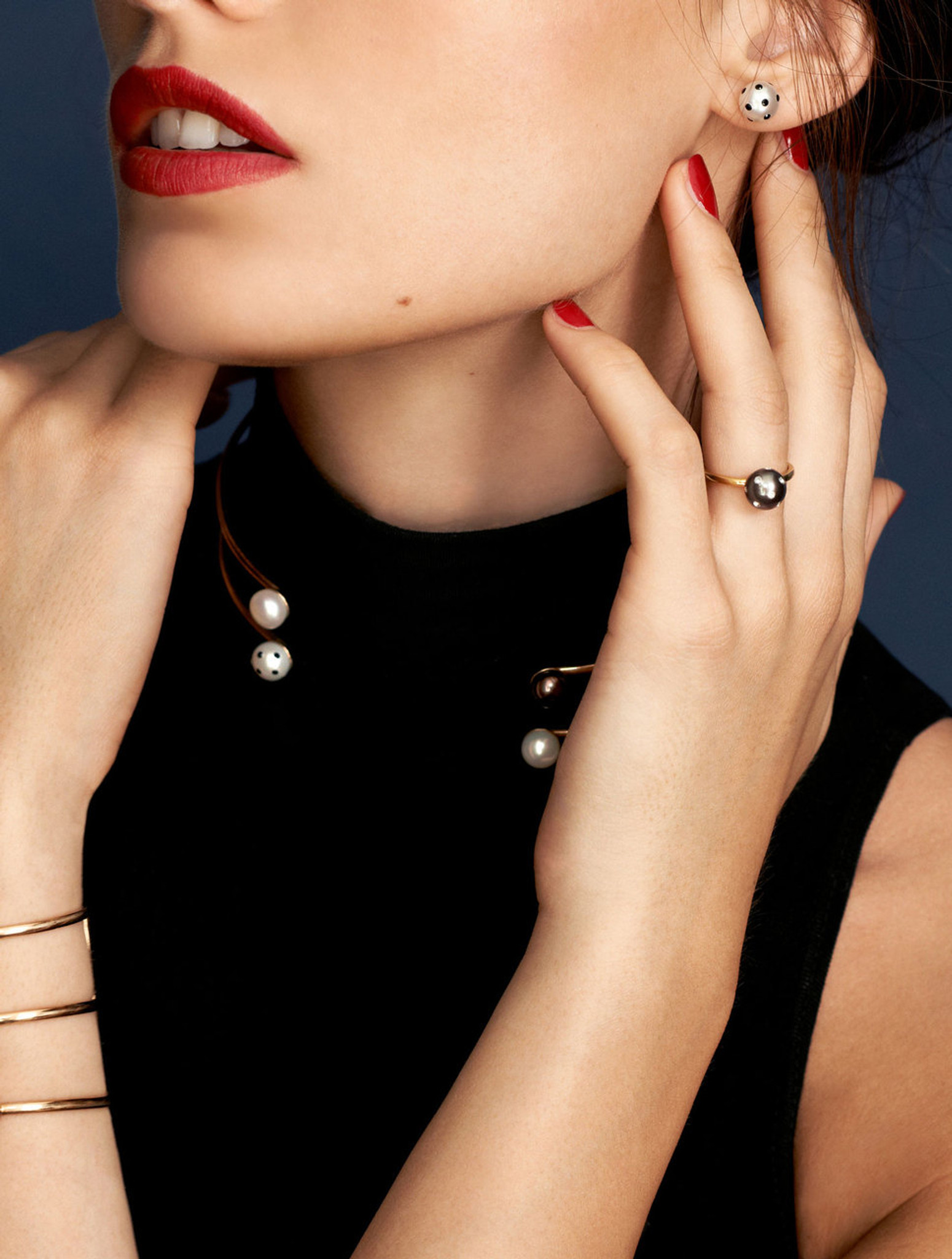 Cultured Freshwater Pearl Ring with LadyBug Diamond Pave and 14k Gold Band by Jewelry Designer Nektar De Stagni (8-9 mm. Size-5-6-7)