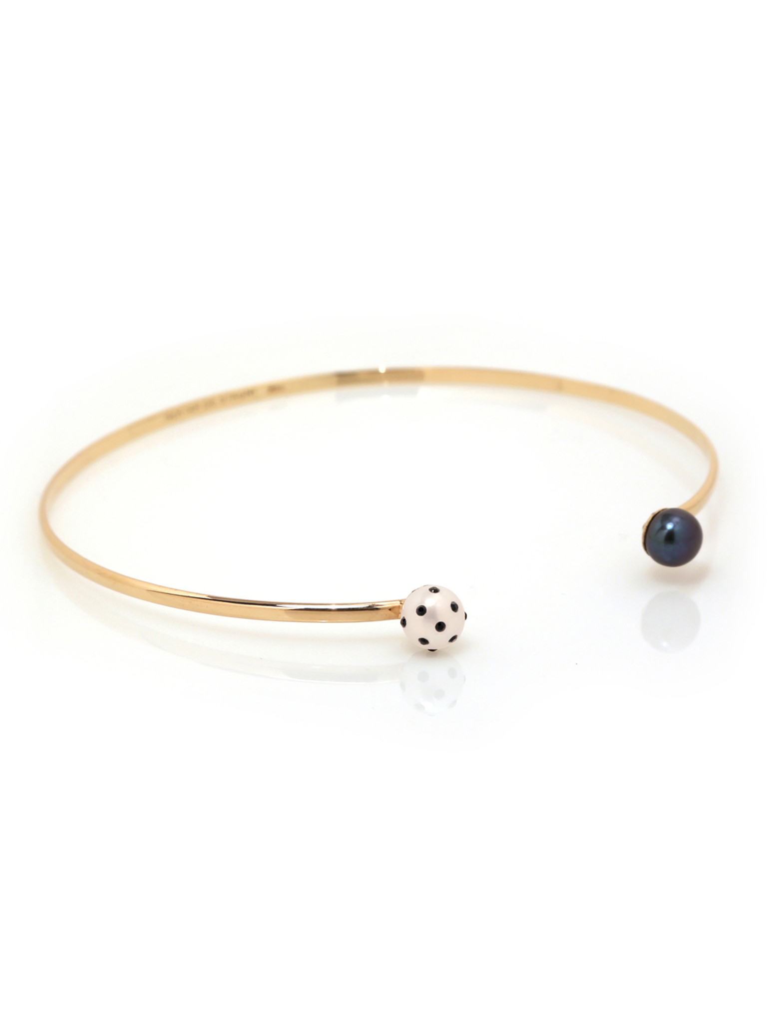 LadyBug Diamond & Black Pearl Choker by Nektar De Stagni