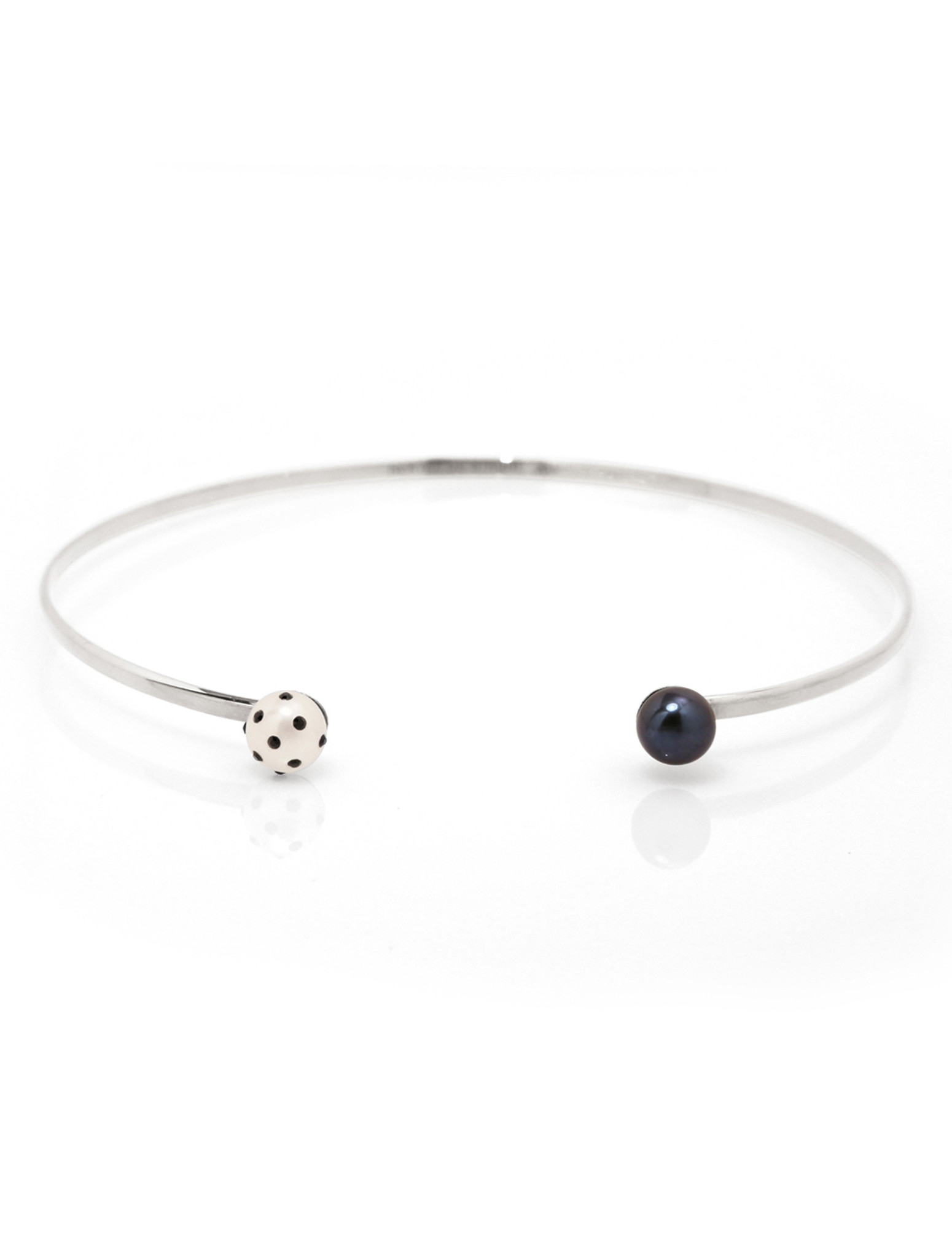 LadyBug Diamond & Black Pearl Silver Choker by Nektar De Stagni