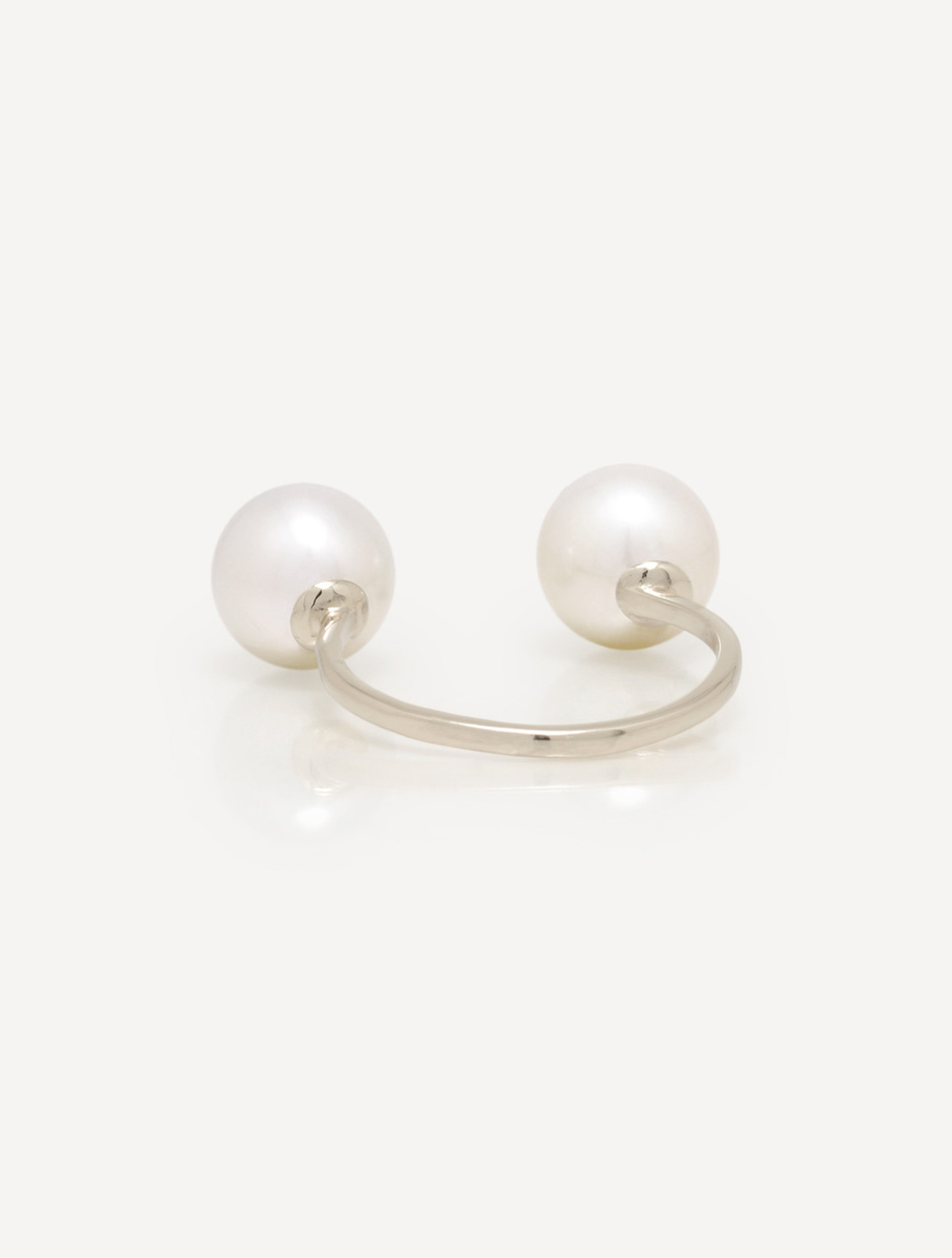 Cultured Freshwater Double Pearl Ring with Smiley Drama Emoji Diamond Pavè & Sterling Silver Band by Nektar De Stagni (8-9 mm. Size 5-6-7)