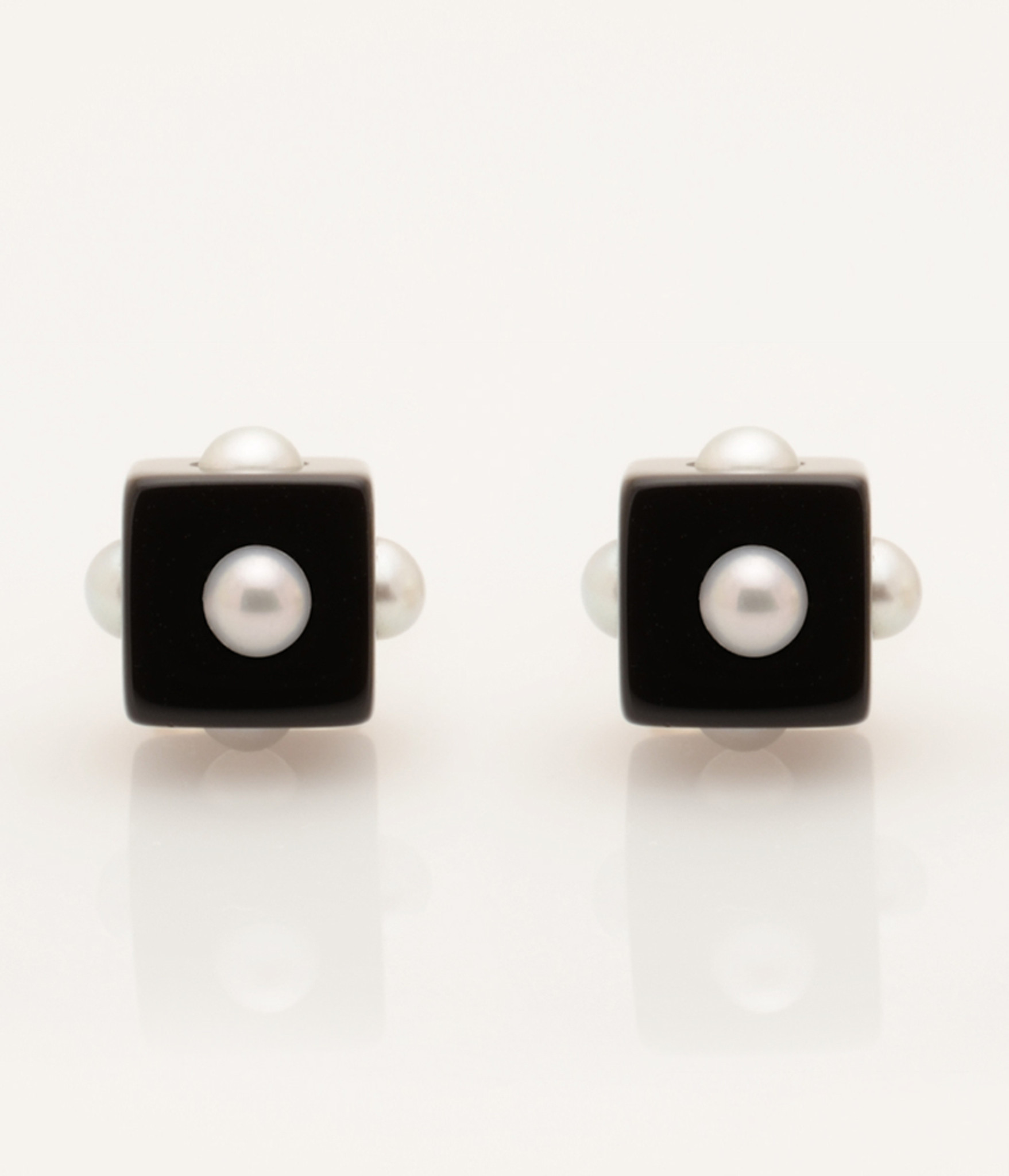 Mini Pearl Onyx Cube Earrings with 14k Gold Post by Nektar De Stagni