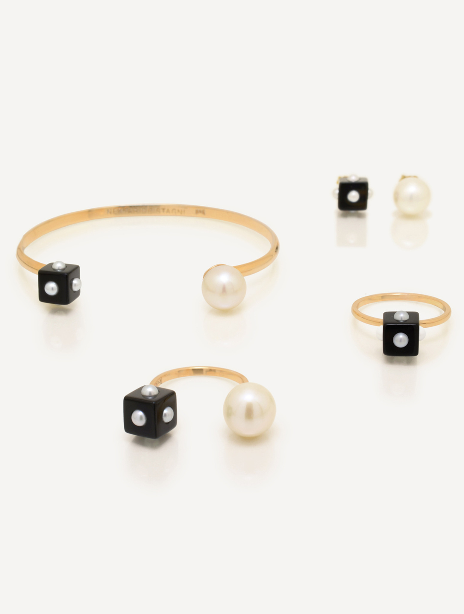 Mini Pearl Onyx Cube & Pearl Earring with 14k Gold Post by Jewelry Designer Nektar De Stagni (8-9 mm)