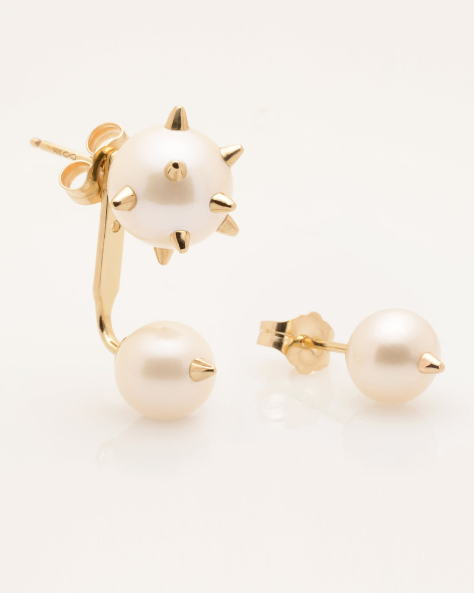 Cultured Freshwater Double Pearl Earrings with 14k Gold Spikes & Jacket by Jewelry Designer Nektar De Stagni (8-6 mm)