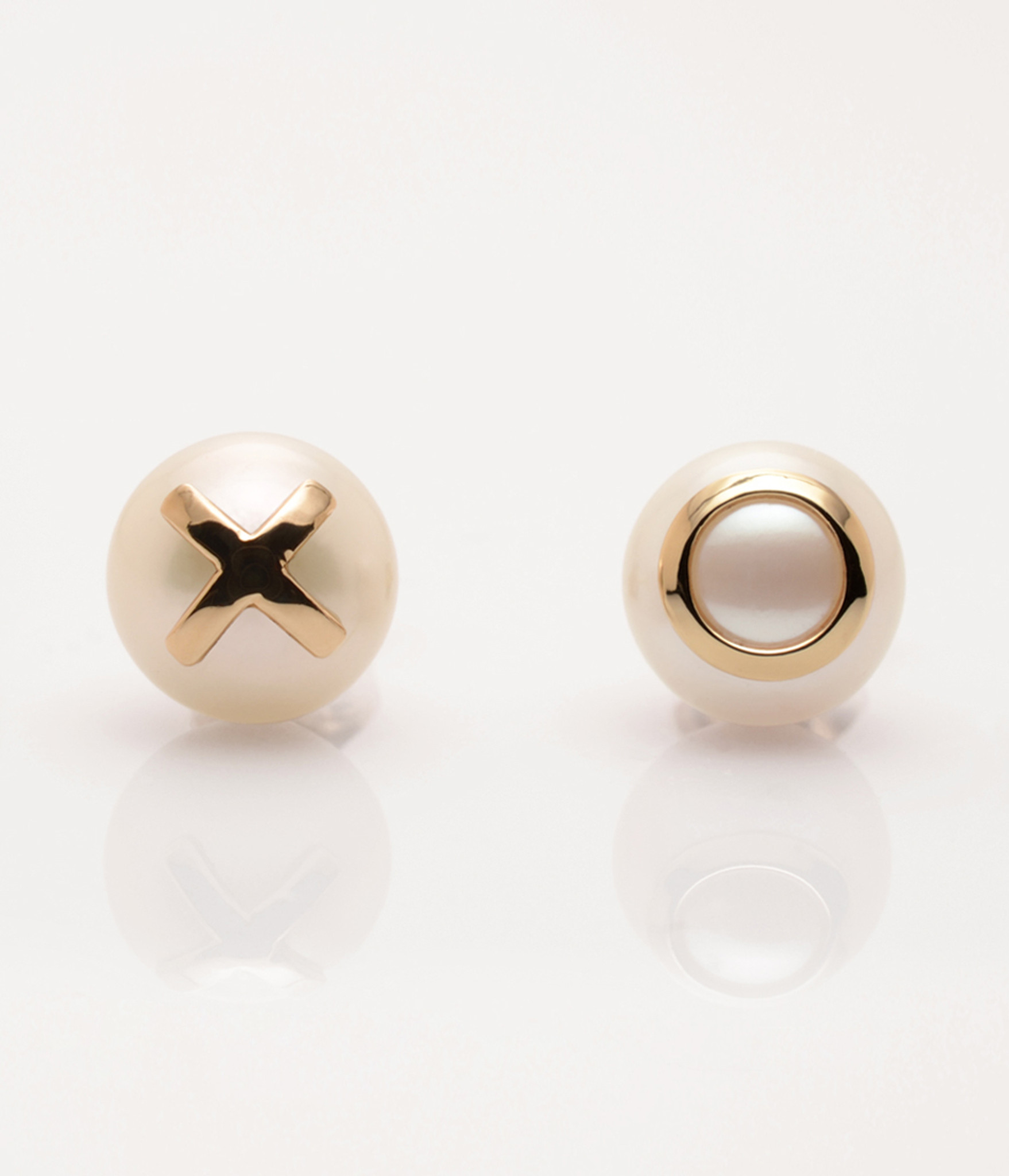 Front view of Cultured Freshwater Pearl Earrings with 14k Gold XO Emoji (8-9 mm) by Nektar De Stagni