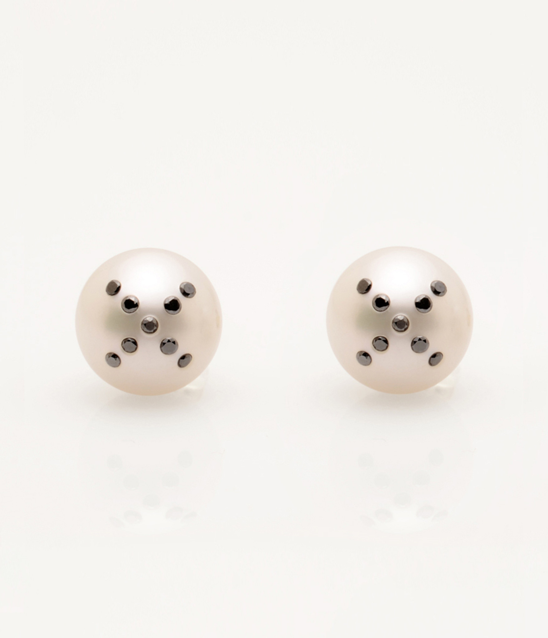 Cultured Freshwater Pearl Earrings with X Emoji Diamond Pave and 14k Gold Posts by Jewelry Designer Nektar De Stagni (8-9-mm). May be matched with second X single earring.