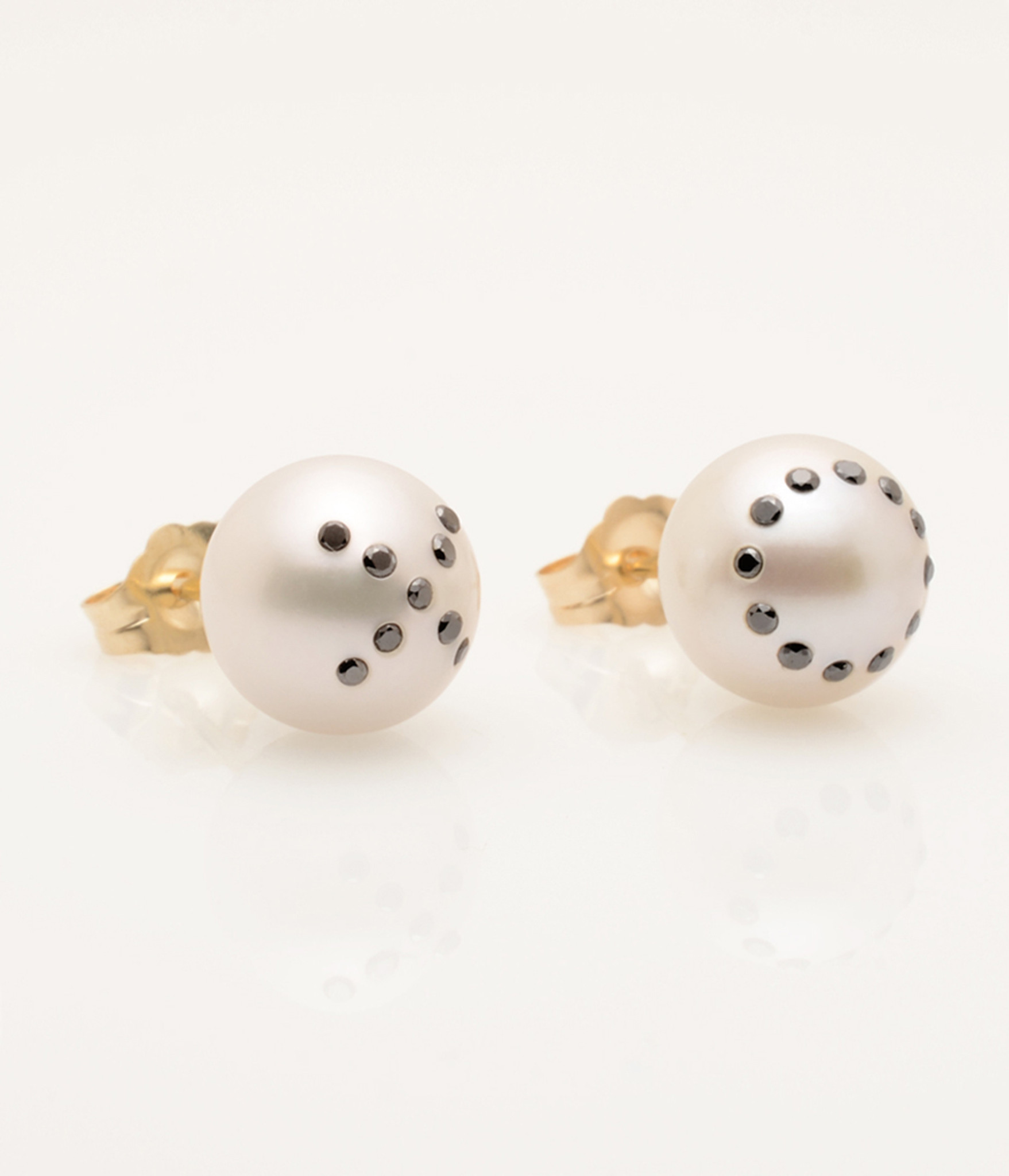 Cultured Freshwater Pearl Earrings with X Emoji Diamond Pave and 14k Gold Posts by Jewelry Designer Nektar De Stagni (8-9-mm). May be matched with O single earring.
