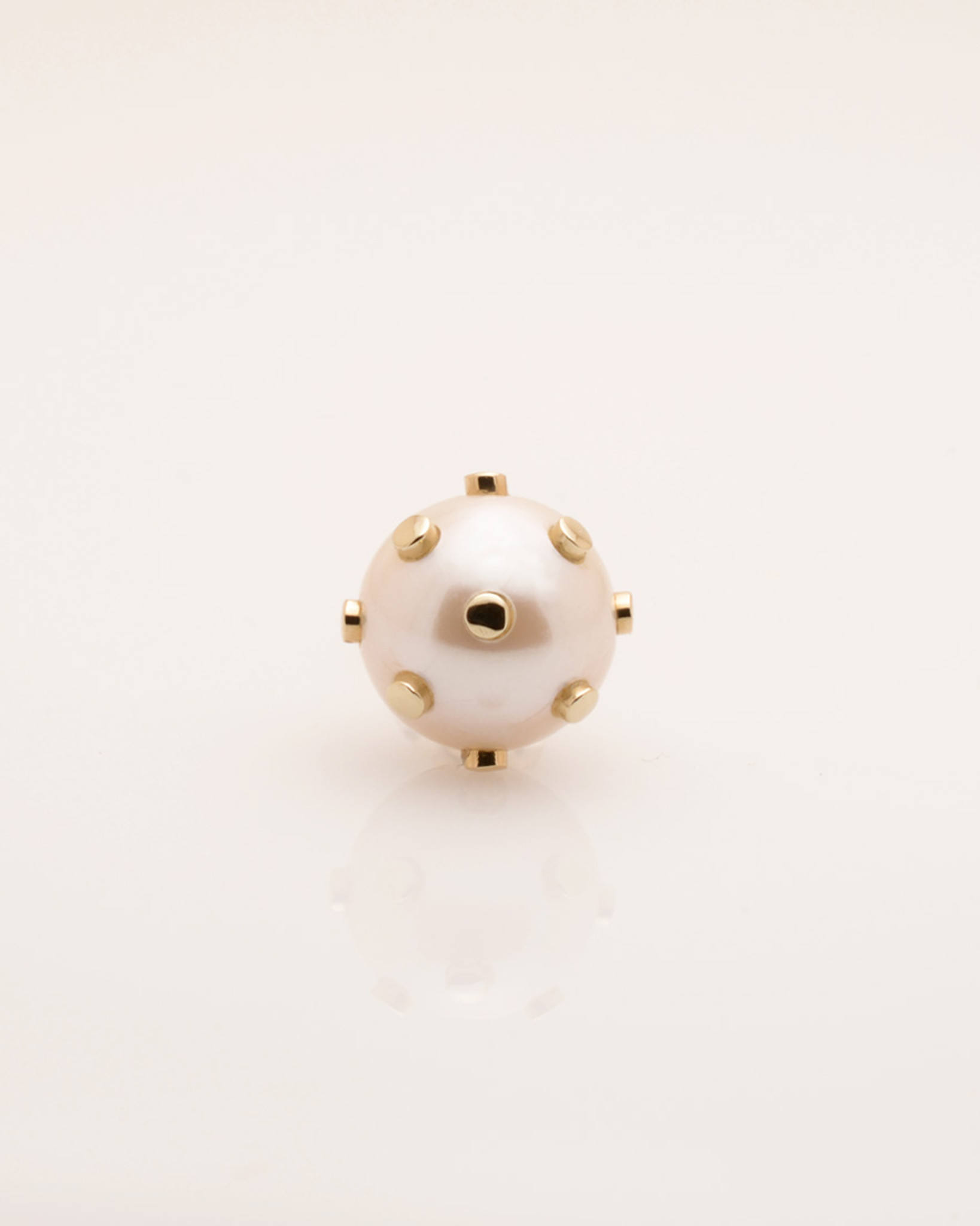 Single Cultured Freshwater Pearl Earring with 14k Gold Dots & Post by Jewelry Designer Nektar De Stagni (8-9mm)