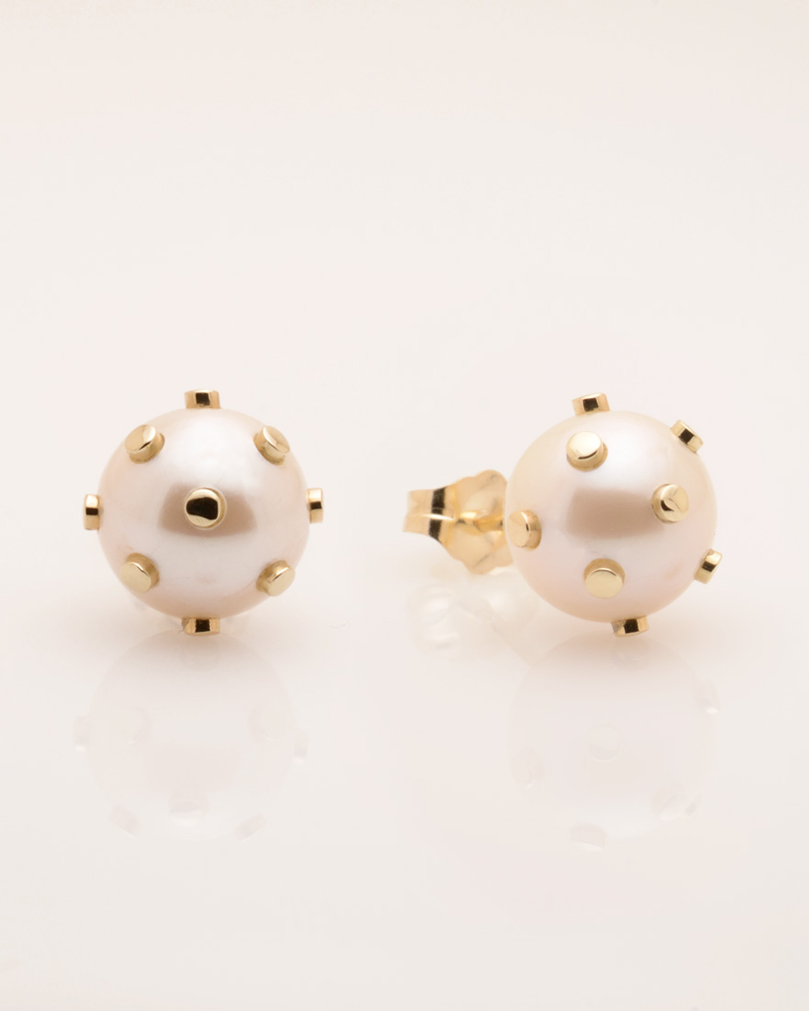 Cultured Freshwater Pearl Earrings with 14k Gold Dots & Post by Jewelry Designer Nektar De Stagni (8-9mm)