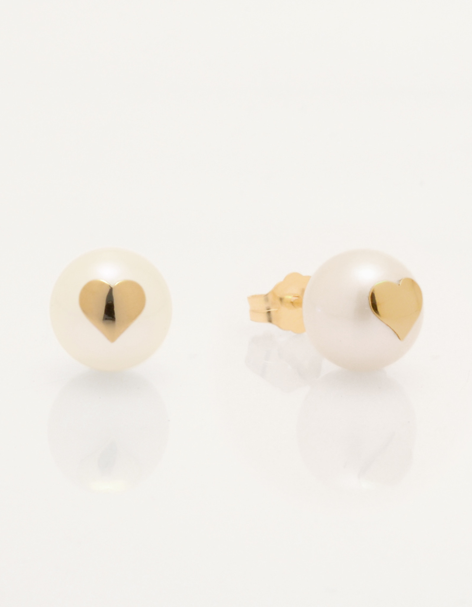 Cultured Freshwater Pearl Earrings with 14k Gold Hearts & Post by Jewelry Designer Nektar De Stagni (8-9mm)