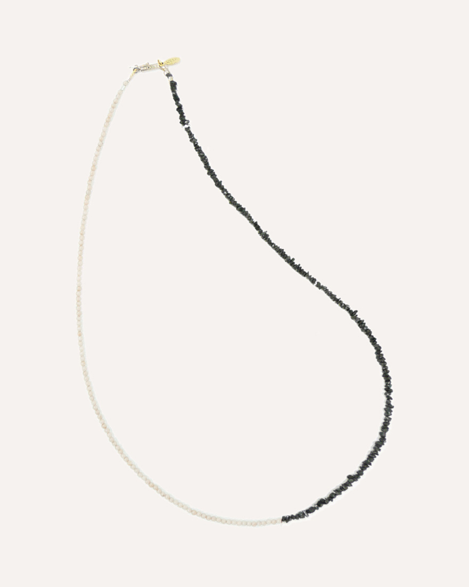 Pearl and Rough Black Diamond Bead Delicate Friendship Necklace by Designer Nektar De Stagni