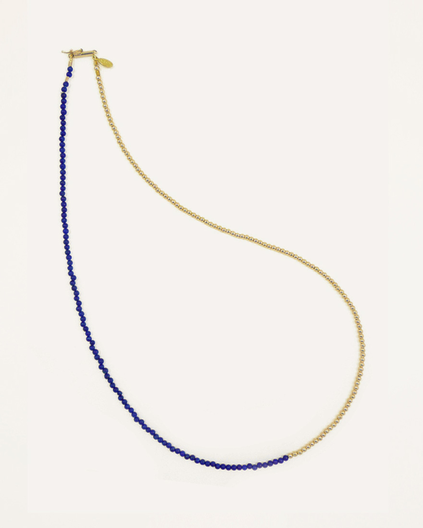 cf89abd851b1d7 Lapis Lazuli and Gold Bead Delicate Friendship Bracelet Necklace by Fine  Jewelry Designer Nektar De Stagni ...