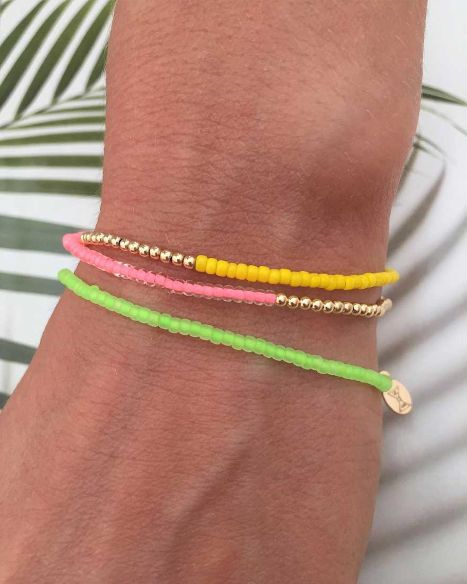 14k Gold and Pink, Yellow, or Green Neon Bead Friendship Delicate Bracelets by Fine Jewelry Designer Nektar De Stagni