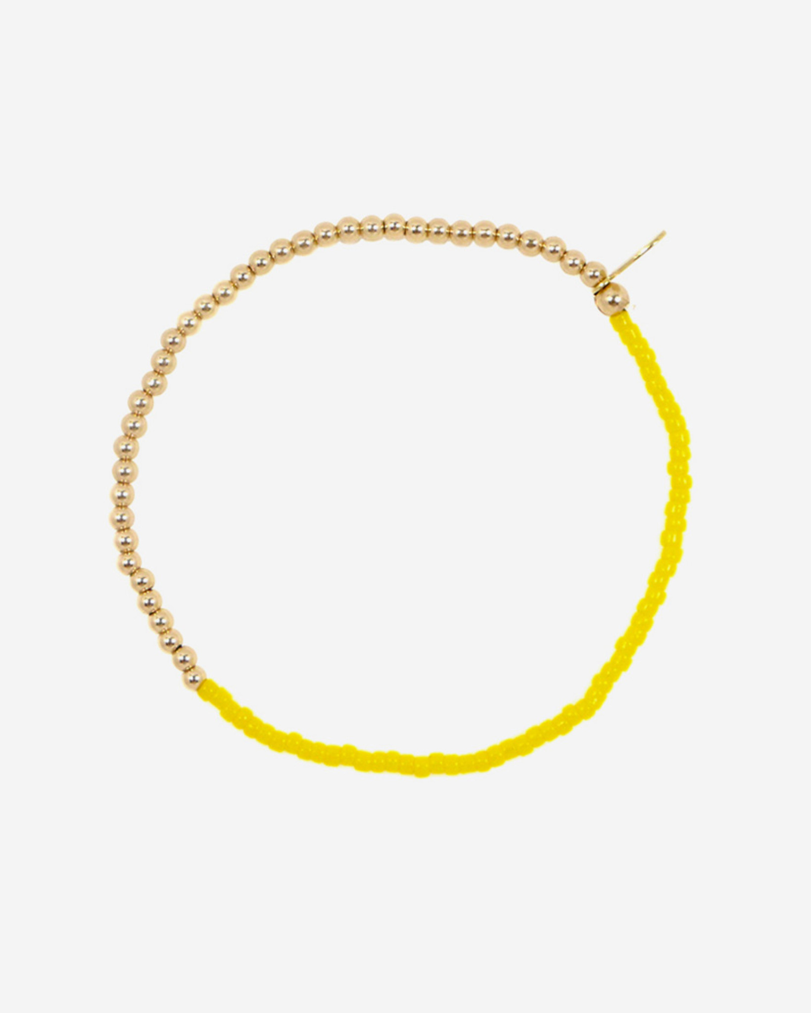 Gold Bead & Bright Yellow Glass Bead Friendship Bracelet by Jewelry Designer Nektar De Stagni