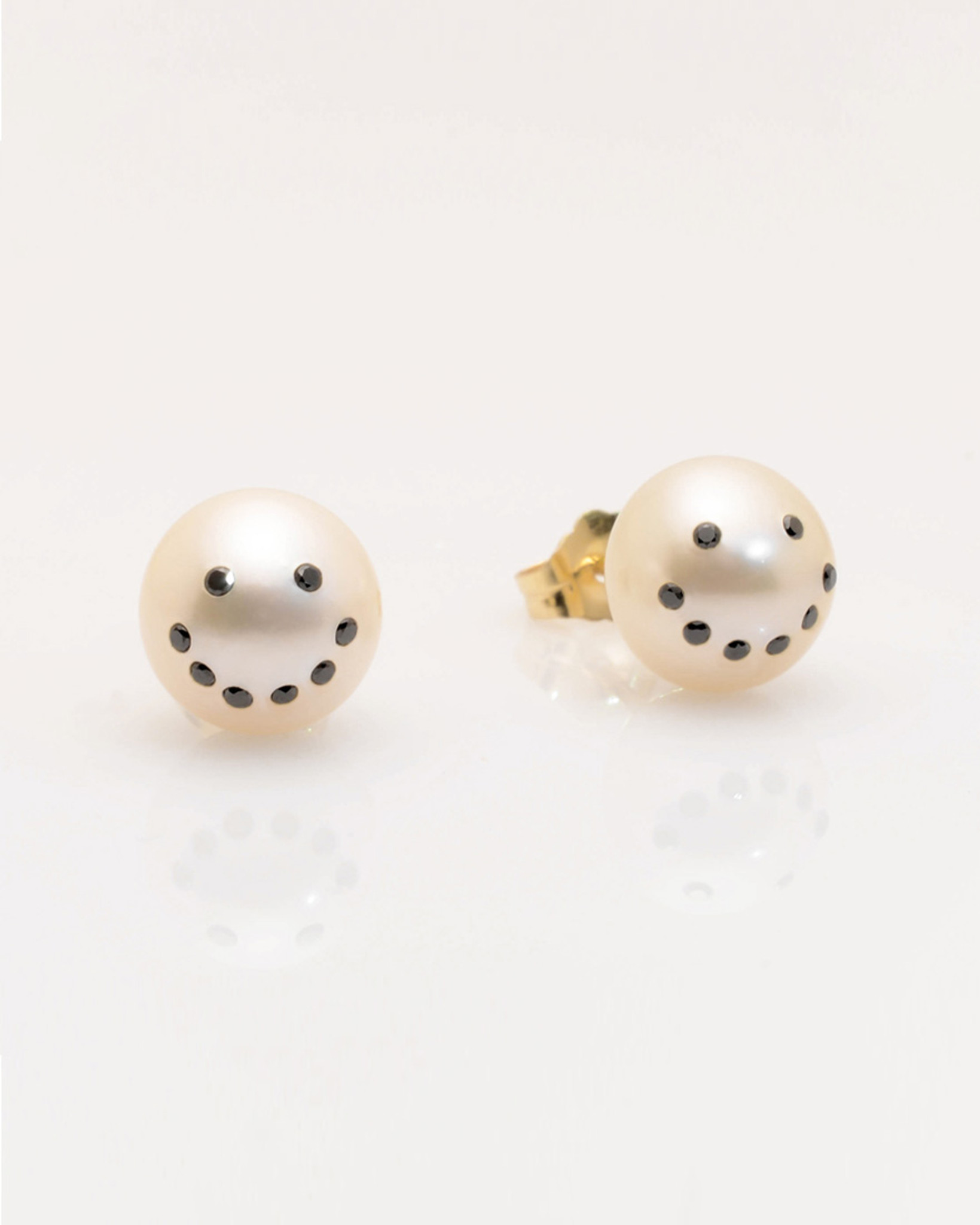 Front view of Cultured Freshwater Pearl Earrings with Smiley Emoji Diamond Pavè & 14k Gold Posts (8-9 mm) by Jewelry Designer Nektar De Stagni