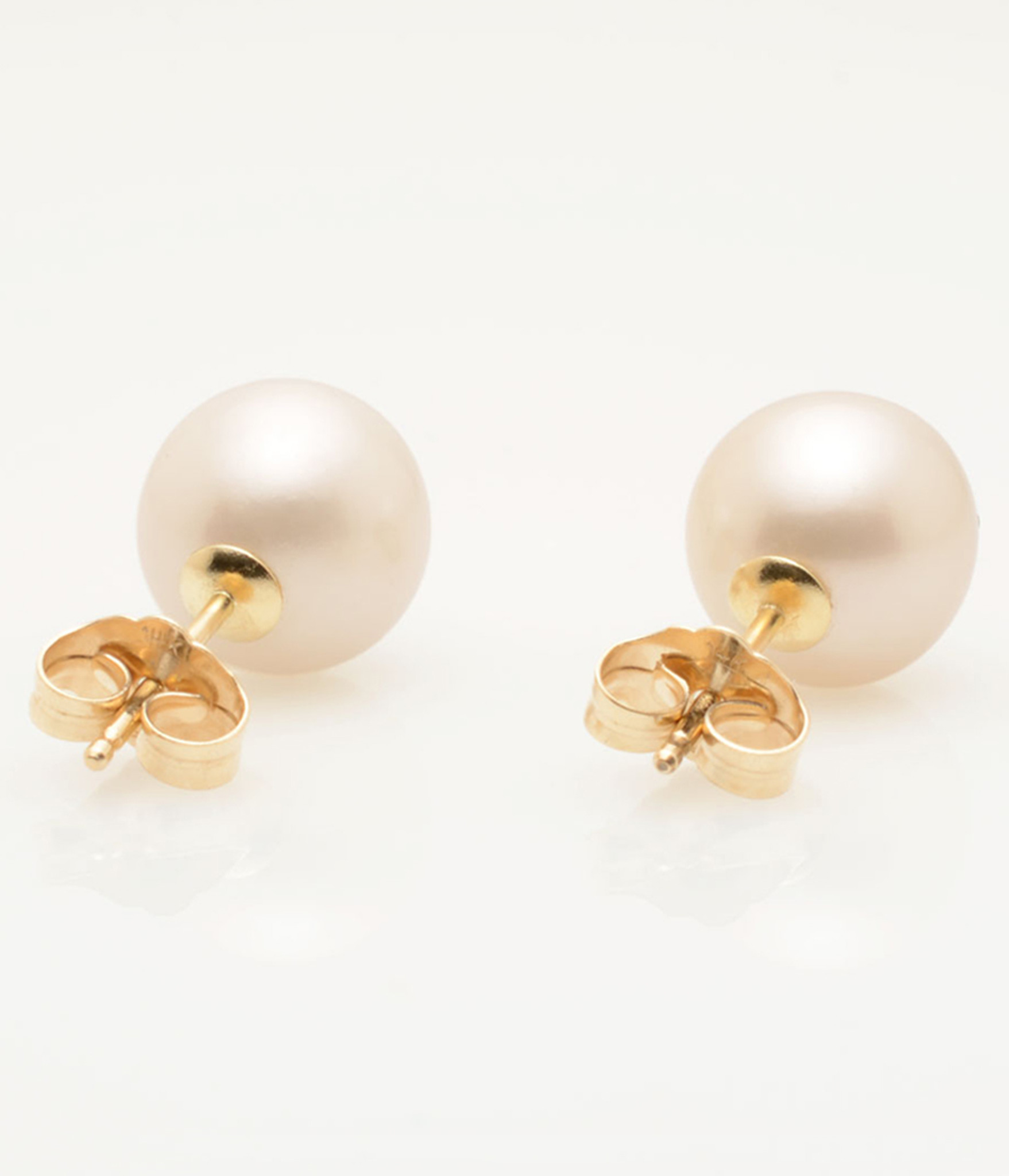 Back view of Cultured Freshwater Pearl Earrings with X Emoji Diamond Pave and 14k Gold Posts by Jewelry Designer Nektar De Stagni (8-9-mm)