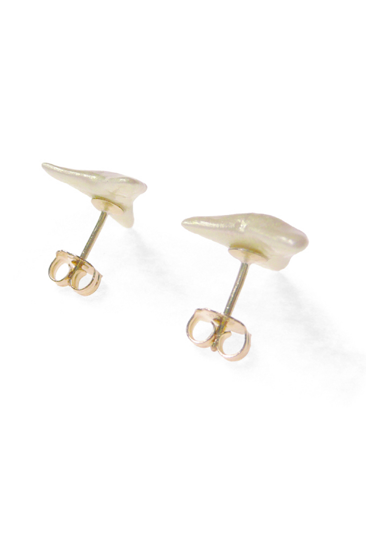 Back View of Everybody's Favorite Shark Teeth Earrings with 14k Gold Post (Solid Sterling Silver coated with White Pearl Enamel) by Nektar De Stagni.