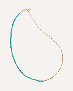 Turquoise & Gold Bead Necklace and Bracelet by Jewelry Designer Nektar De Stagni
