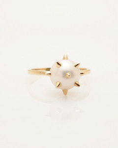 Cultured Freshwater Pearl Ring with 14k Gold Spikes and Band by Fine Jewelry Designer Nektar De Stagni (8-9mm. Size 5-6-7)
